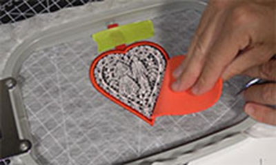 remove foam from embroidery