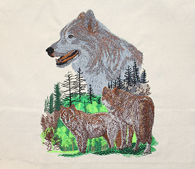 wolf pack scene embroidery design