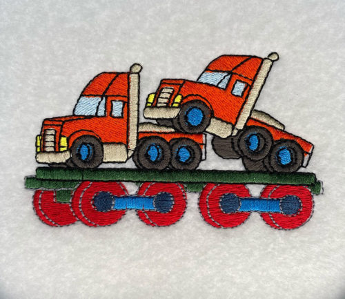 trucks on train car embroidery design