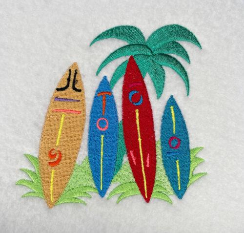surf boards embroidey design