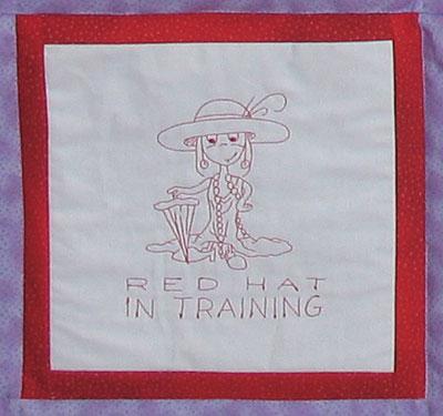 red hat redwork quilt block