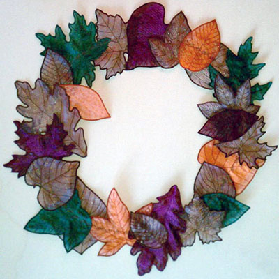 3D fall leaves wreath