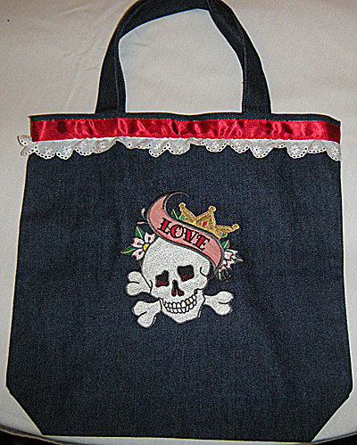 classic tattoos denim bag