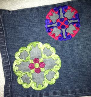 cutwork circle jeans