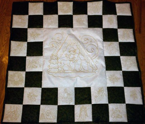 gold christmas quilt