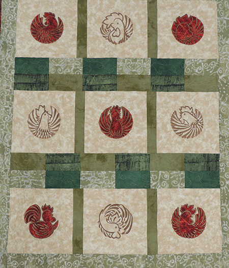 fantasy rooster circle quilt