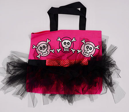 pink skulls tutu bag