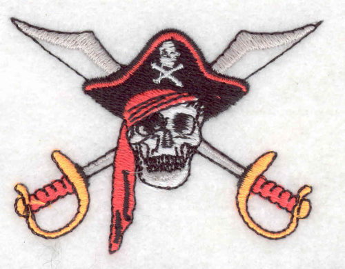 pirate skull with swords embroidery design
