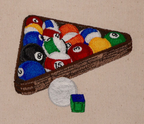 pool balls and rack embroidery design