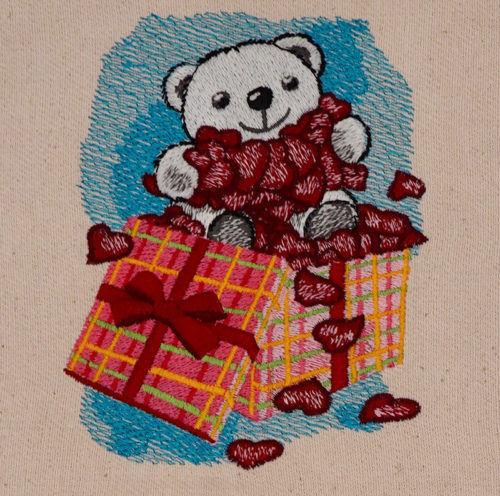 teddy bear with hearts embroidery design