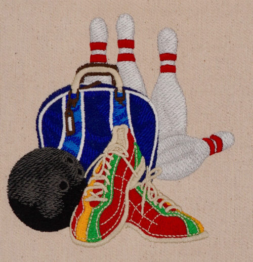 bowling set up embroidery design