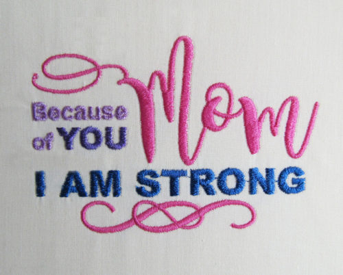 Because of you i am strong embroidery design