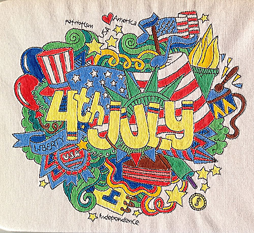 4th of july coloring tee