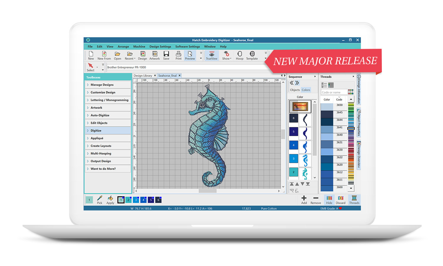 Hatch Embroidery Digitizer Software