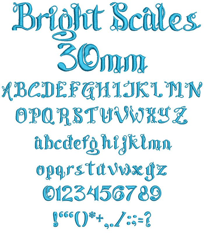 bright scales keyboard font letters