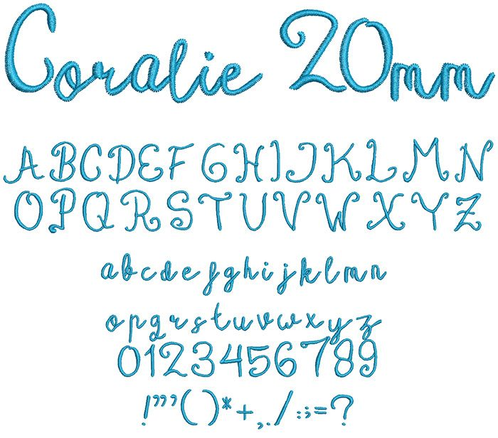 coralie keyboard font letters
