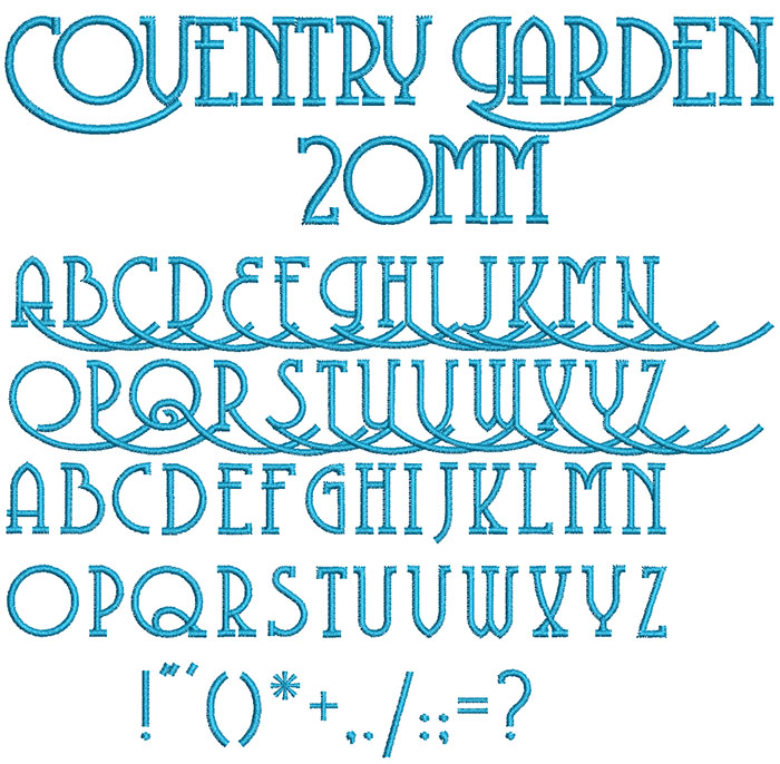 coventry garden keyboard font letters