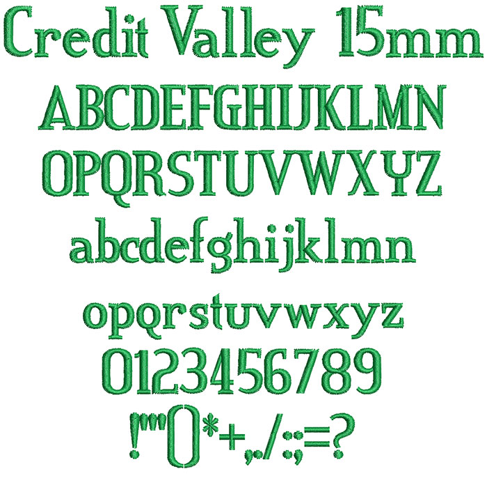 credit valley keyboard font letters