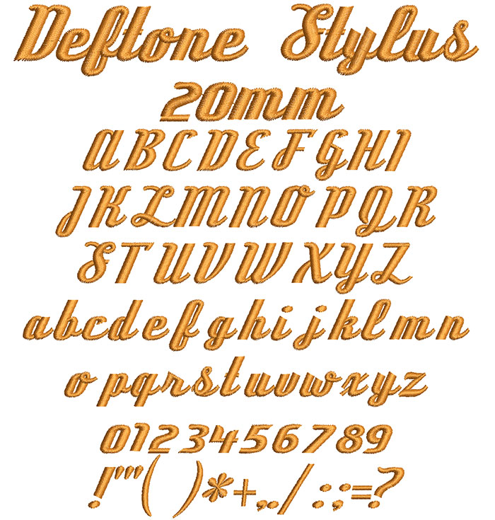 Deftone Stylus 20mm Font