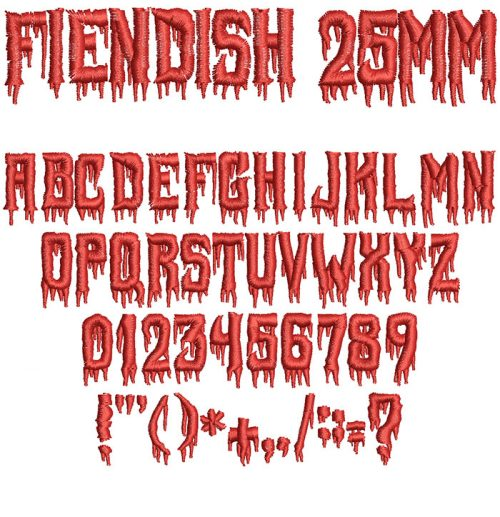 Fiendish 25mm Font