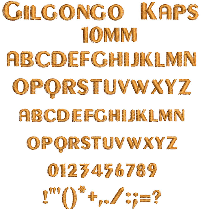 Gilgongo Kaps 10mm Font