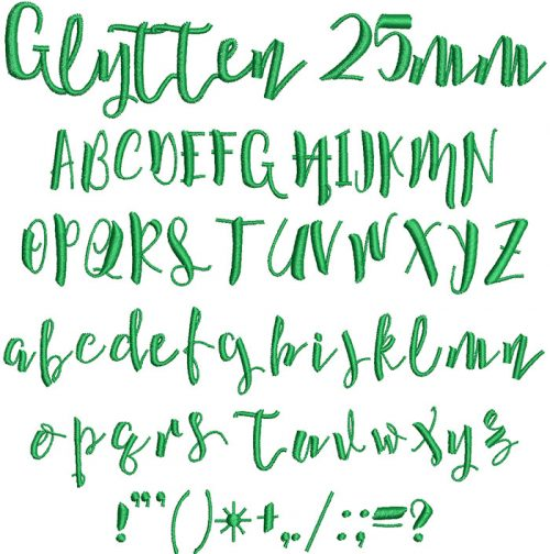 glytten keyboard font letters