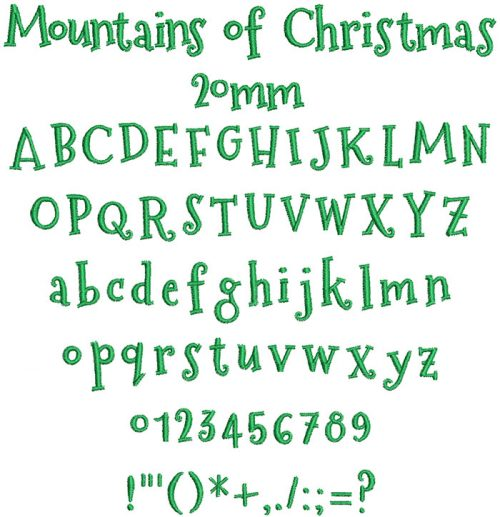 mountains of christmas keyboard font letters