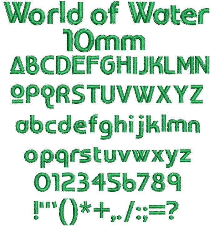 world of water keyboard font letters