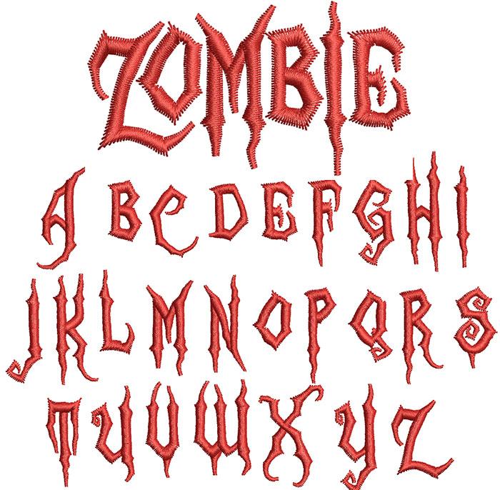 zombie keyboard font letters