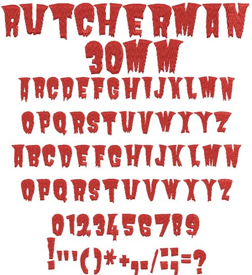 Butcherman 30mm Font