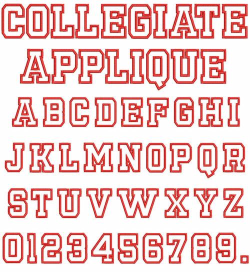 collegiate applique keyboard font letters
