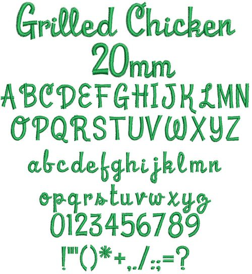 grilled chicken keyboard font letters