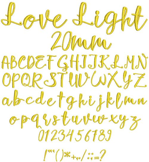 love light keyboard font letters