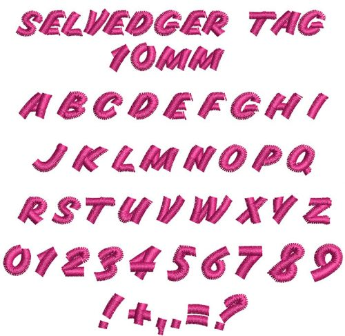 selvedger tag keyboard font letters