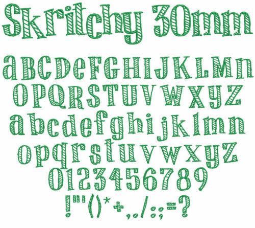 skritchy keyboard font letters