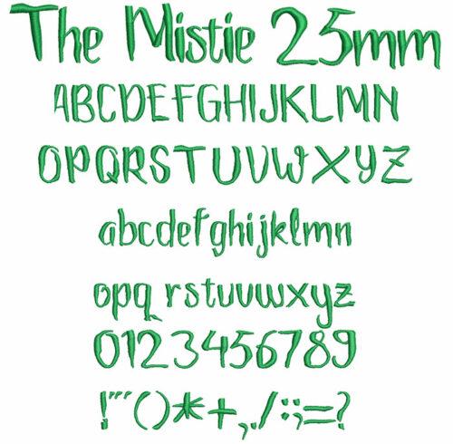 the mistie keyboard font letters