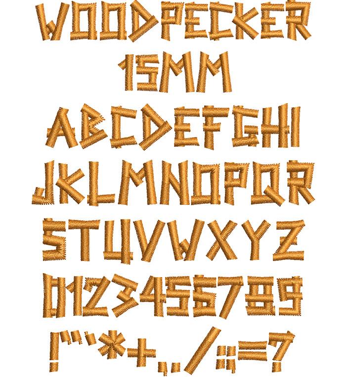 woodpecker keyboard font letters
