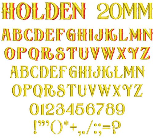Holden 20mm 2 Color Font