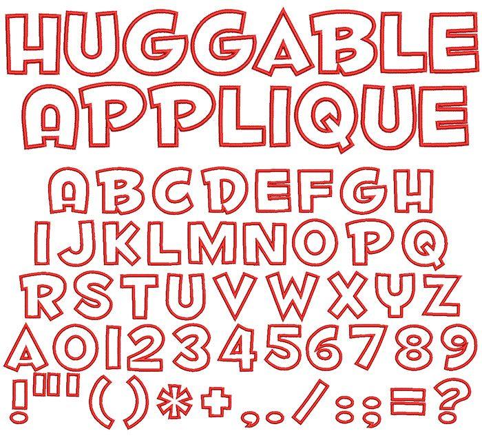 Huggable Applique keyboard font letters