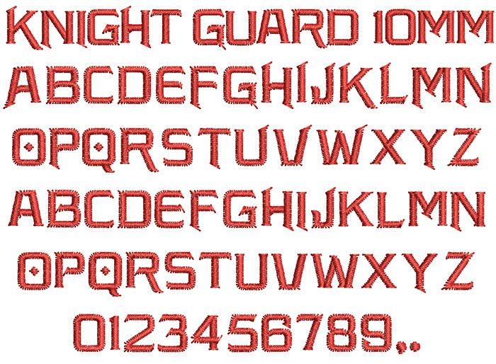 Knight Guard keyboard font letters
