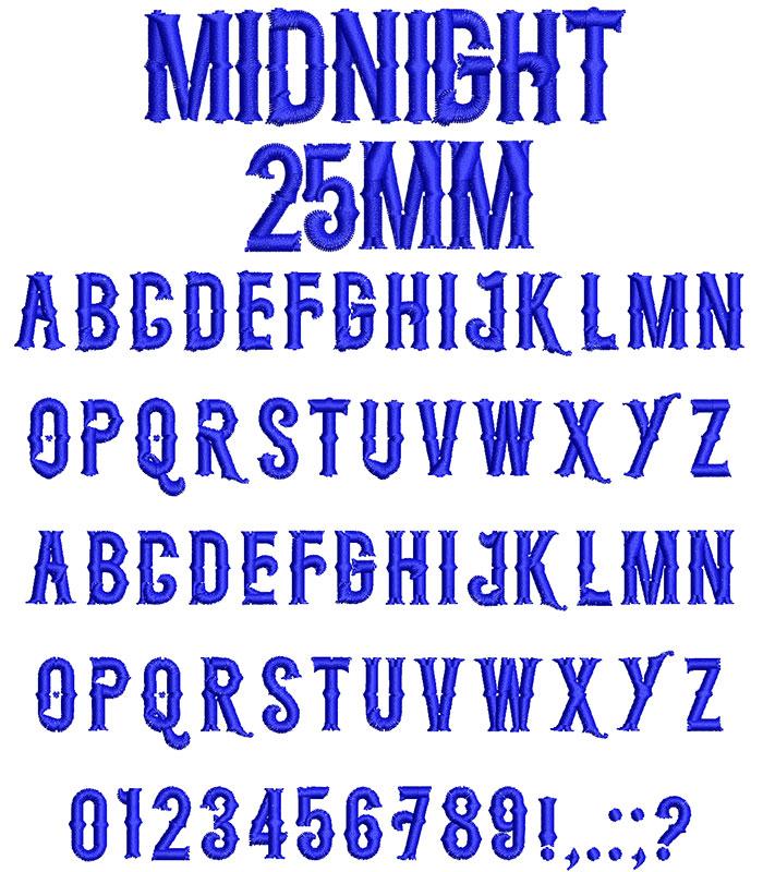 Midnight 25mm Font