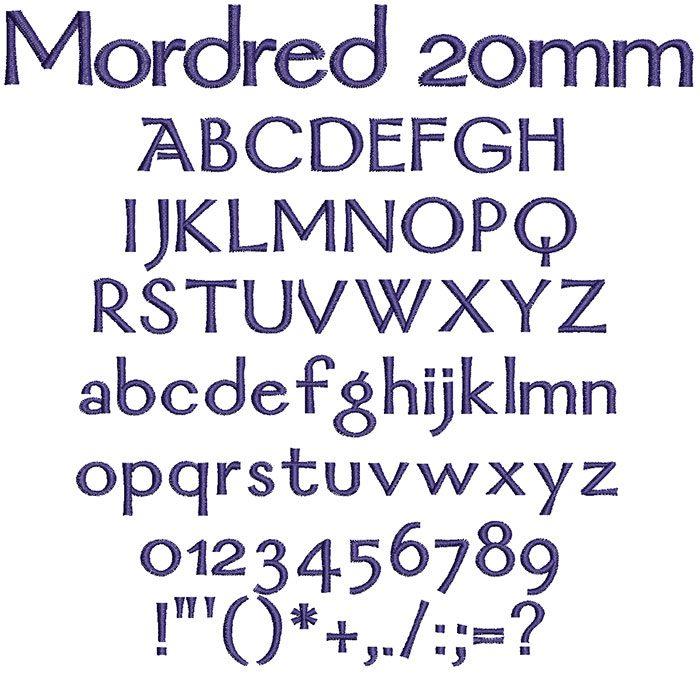 Mordred 20mm Font