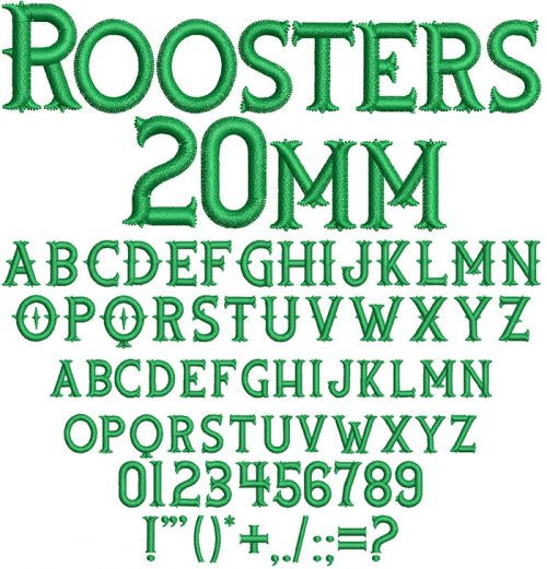 Roosters 20mm Font