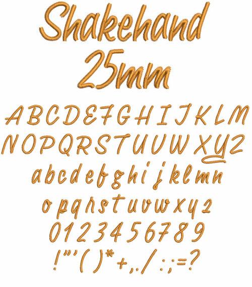 Shakehand 25mm Font