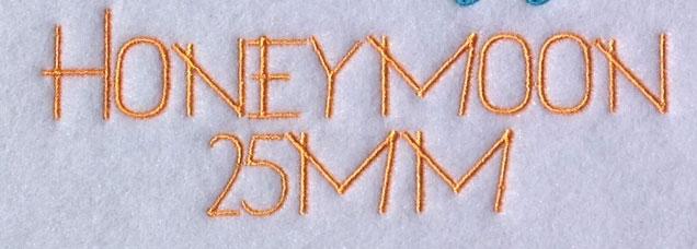 Honeymoon 25mm Font