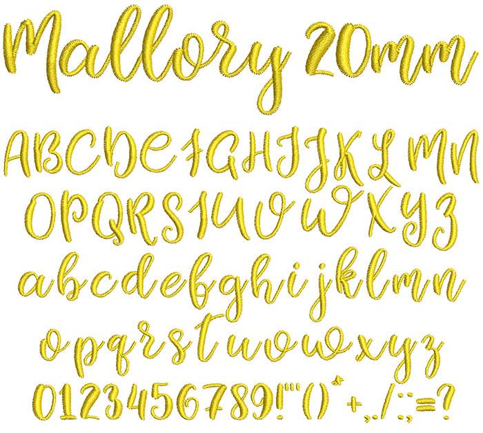Mallory 20mm Font