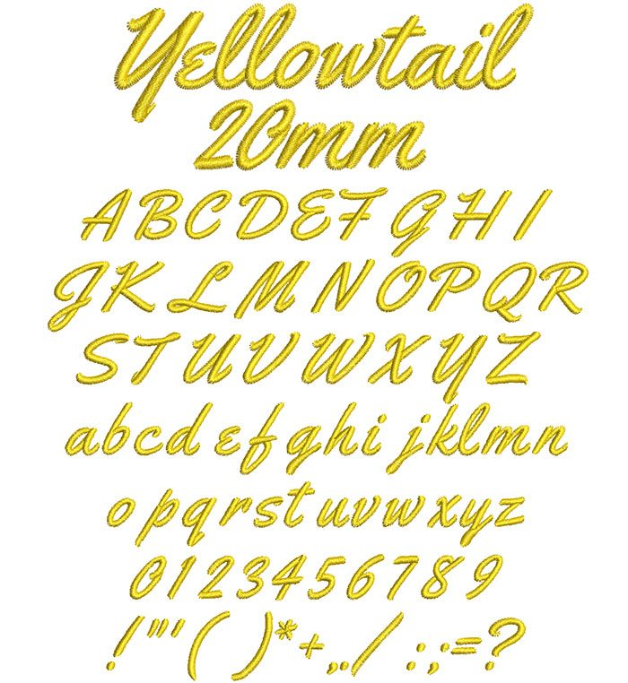 Yellowtail 20mm Font