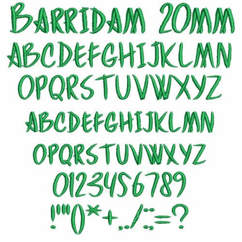 Barridam 20mm Font