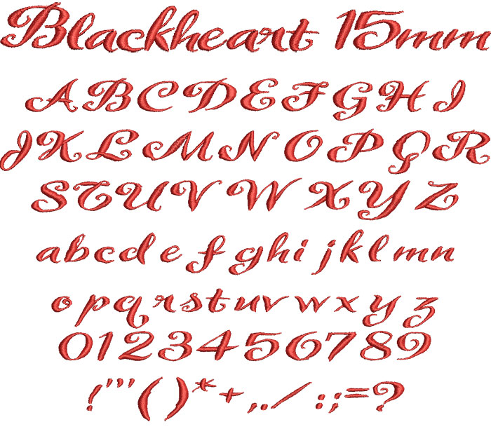 Blackheart 15mm Font