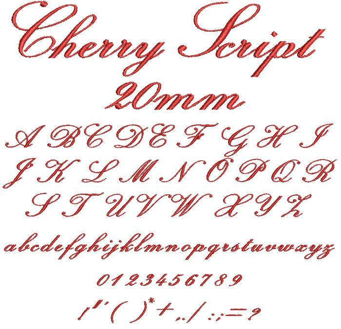 Cherry Script 20mm Font
